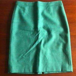 J. Crew Wool No. 2 Pencil Skirt in Green Sz 10